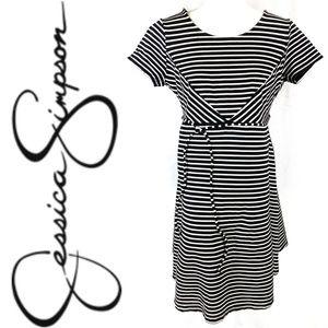 Jessica Simpson B/W Striped Maternity Dress Sz L